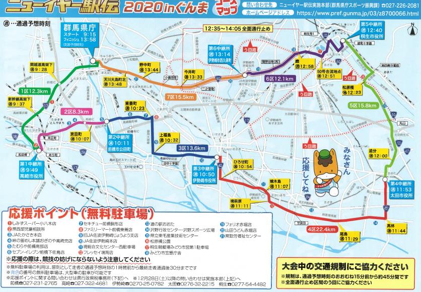 ニューイヤー駅伝2021のコースマップの参考画像