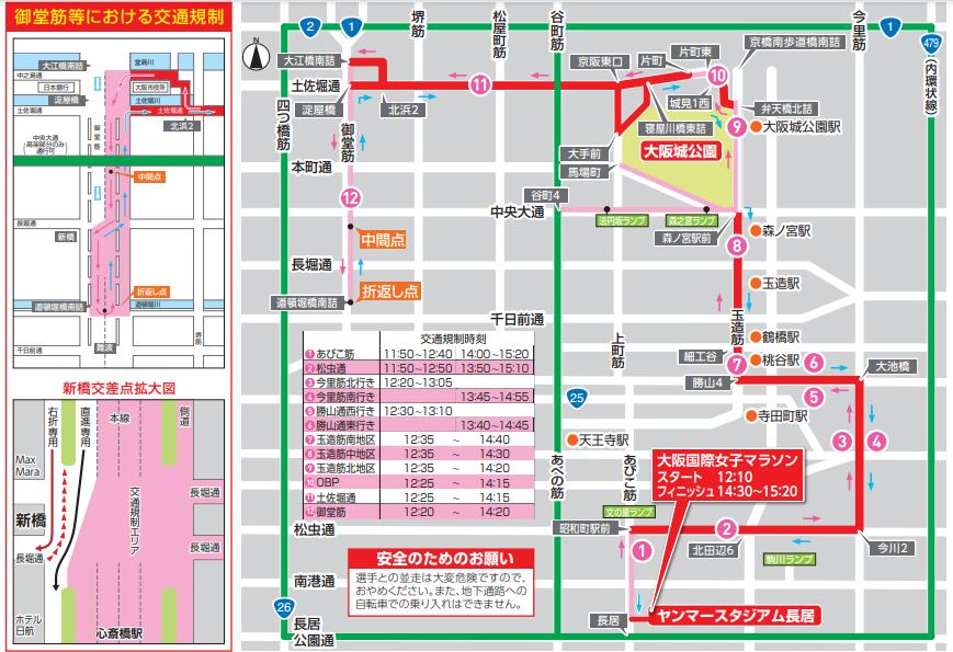 大阪国際女子マラソンの交通規制の参考画像