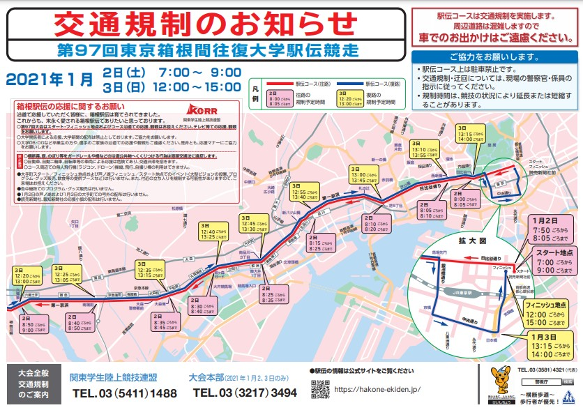 箱根駅伝2021コース図(マップ)と交通規制の参考画像